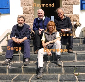 Réunion du bureau des Sangriaquilamis du 14 mai 2016 à Plougasnou. Raymond Martin, Daniel Tarin, Serge Gelebart, Dominique Guillaume